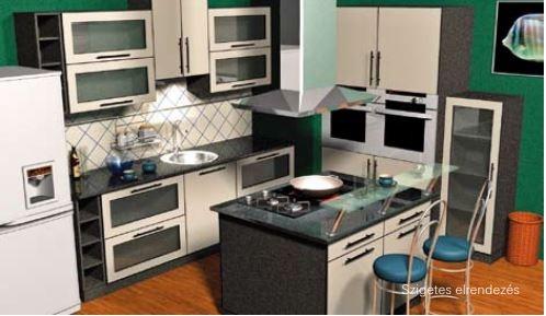 Szigetes elrendezésű konyha